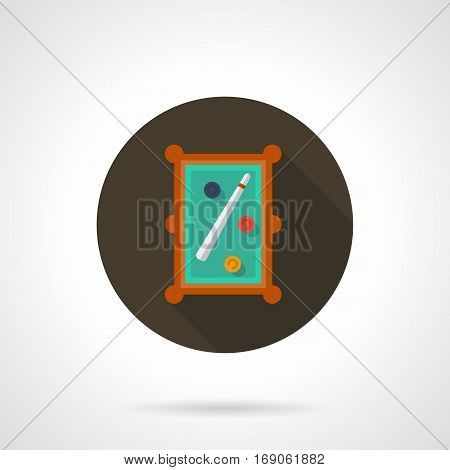 A top view of billiard table with three colored balls and cue. Snooker game concept. Symbol for billiards tournament, sport hobby. Round flat design vector icon.