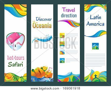 Set of vertical banners hot tours safari discover oceania travel direction latin america vector illustration