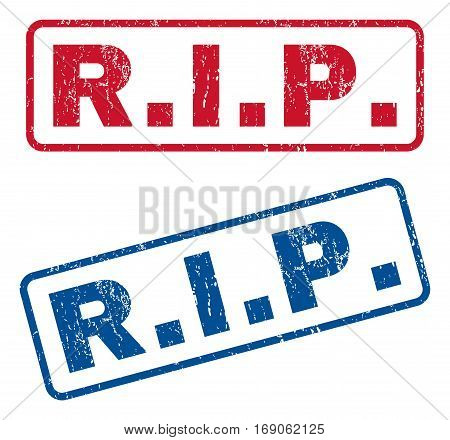 R.I.P. text rubber seal stamp watermarks. Vector style is blue and red ink caption inside rounded rectangular shape. Grunge design and dirty texture. Blue and red emblems.