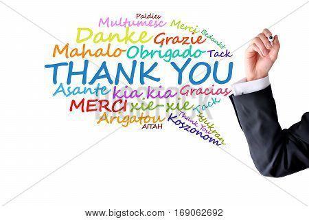 Thank you message in different languages on white background