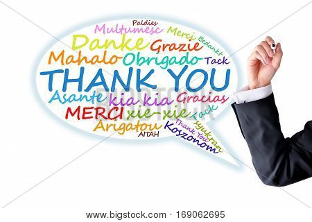 Word cloud with thank you message in different languages