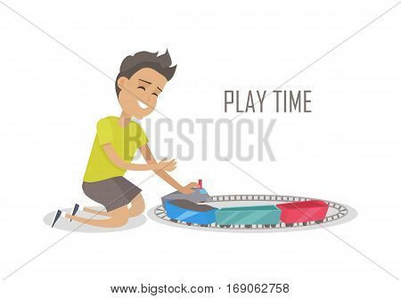 Play time. Little kid playing with train construction. Boy playing with toys. Smiling boy playing with trains and railroad. Isolated object on white background. Vector illustration.