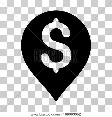 Bank Map Marker icon. Vector illustration style is flat iconic symbol black color transparent background. Designed for web and software interfaces.