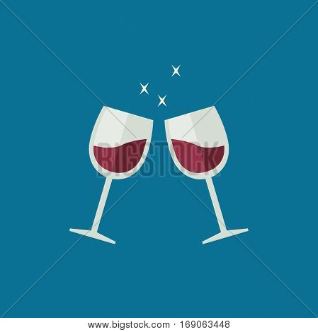 Clink wine glasses flat style. Glasses with alcoholic beverages
