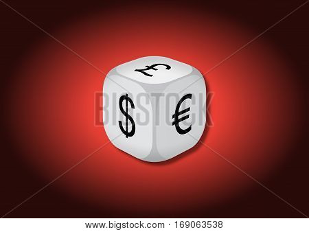 A 3D illustration of a dice with currency symbols. On each face of the dice are illustrated symbols of dollar euro and pound.