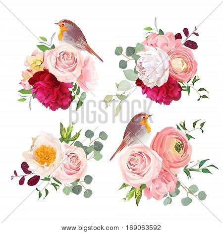 Surprise bouquets and cute robin birds vector design objects. Peachy roses white and burgundy red peony carnation eucalyptus and ranunculus flowers in japanese style. All elements are editable.