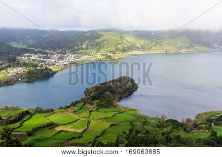 Lake on island Sao Miguel, the Azores, Portugal