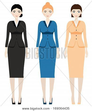 Woman dress code. Female in business outfit office clothes. Classic suit with skirts for lady