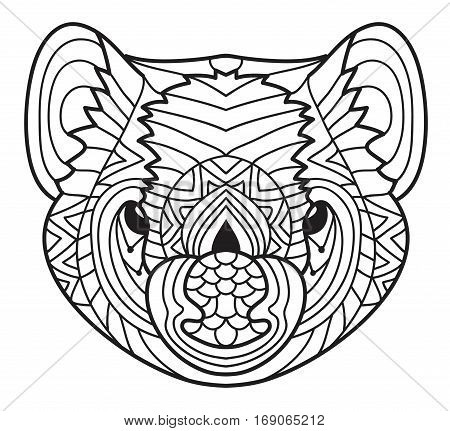 Animals of Australia. Tasmanian devil. Cute line drawing of a head of a Tasmanian devil with patterns. Coloring book for adults. Ink drawing.