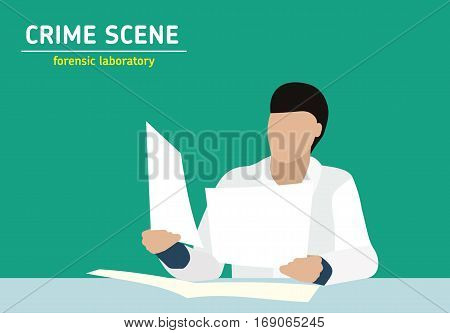 Investigation. Laboratory studies evidence. Forensic procedure. Murder investigation. Officer examines the documents the evidence. Flat style illustration.