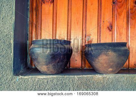 Ceramic brown and black handmade ethnic earthenware