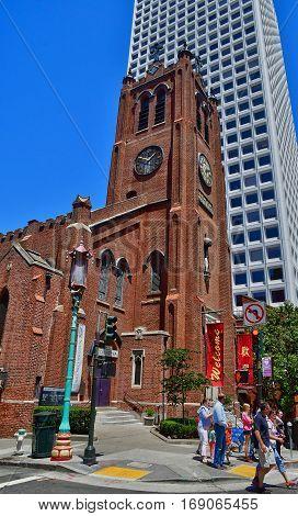 San Francisco; USA - july 13 2016 : old Saint Mary cathedral