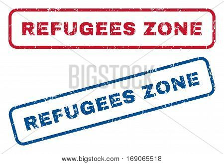 Refugees Zone text rubber seal stamp watermarks. Vector style is blue and red ink tag inside rounded rectangular shape. Grunge design and dust texture. Blue and red stickers.