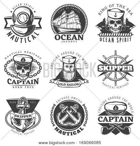 Black vintage sailor naval label set with king of the sea ocean spirit time to travel ocean journey descriptions vector illustration