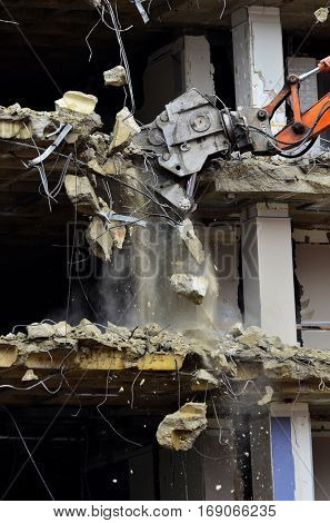 Demolition of collapsing building construction tear down