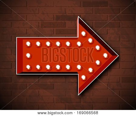 Vector marquee arrow symbol with glowing light bulbs on brick wall background