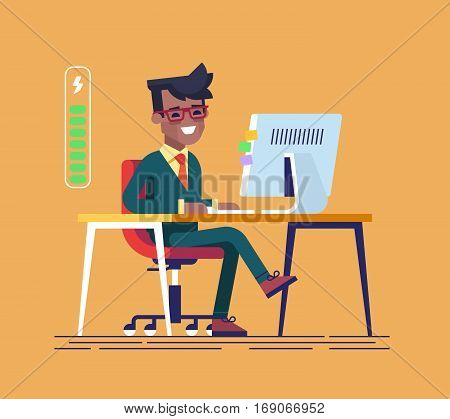Handsome young black businessman character full of energy to work. Vector flat cartoon illustration