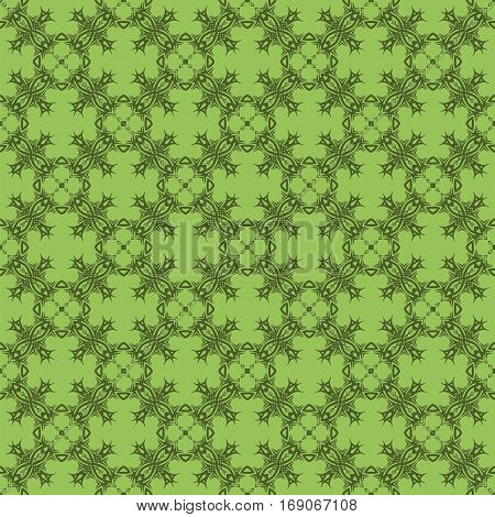 Decorative Retro Seamless Pattern. Ornamental Green Background
