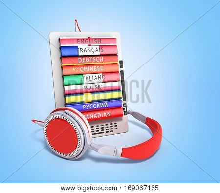 E-boock Audio Learning Languages 3D Render Image On Blue Gradient