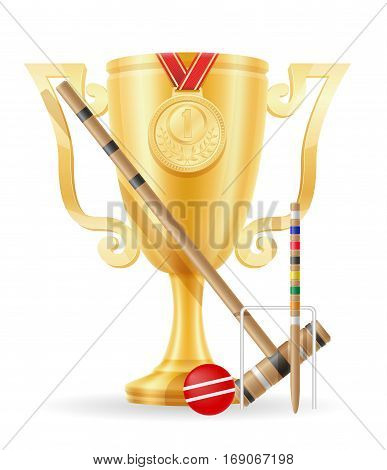 Croquet Cup Winner Gold Stock Vector Illustration