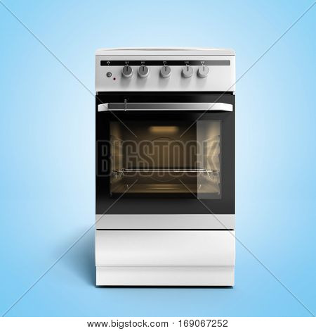 Gas Stove 3D Render On Blue Gradient Background