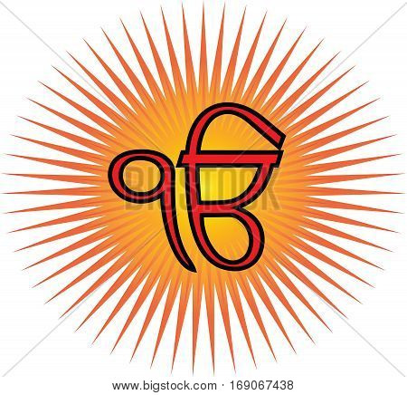 Ek Onkar is the main symbol of Sikhism, transparent background, red and gold sun rays.