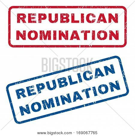 Republican Nomination text rubber seal stamp watermarks. Vector style is blue and red ink tag inside rounded rectangular shape. Grunge design and dust texture. Blue and red signs.