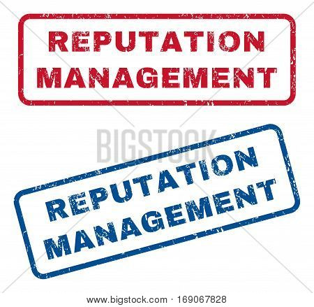 Reputation Management text rubber seal stamp watermarks. Vector style is blue and red ink tag inside rounded rectangular banner. Grunge design and unclean texture. Blue and red emblems.
