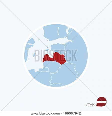 Map Icon Of Latvia. Blue Map Of Europe With Highlighted Latvia In Red Color.