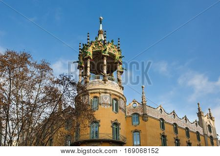 Barcelona Spain - January 03 2017: The tower of the La Rotonda is a building modernist located on the corner of Paseo de San Gervasio in Barcelona