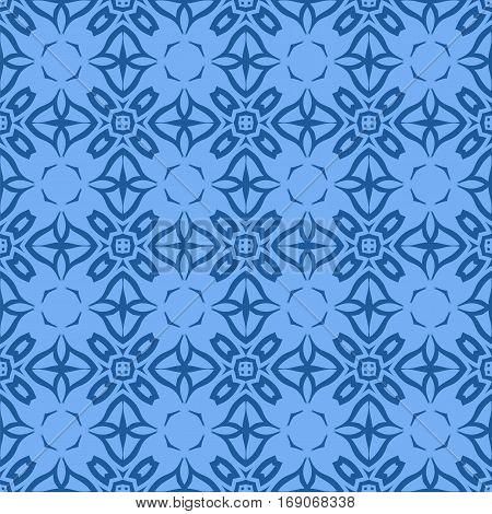 Decorative Retro Seamless Pattern. Ornamental Blue Background