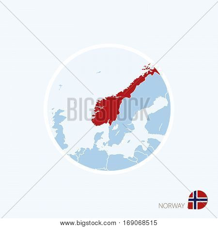 Map Icon Of Norway. Blue Map Of Europe With Highlighted Norway In Red Color.