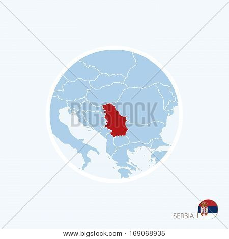 Map Icon Of Serbia. Blue Map Of Europe With Highlighted Serbia In Red Color.