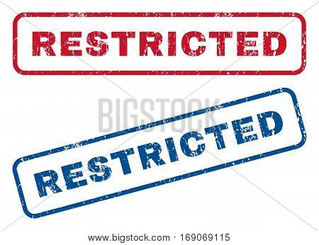 Restricted text rubber seal stamp watermarks. Vector style is blue and red ink caption inside rounded rectangular banner. Grunge design and dust texture. Blue and red emblems.