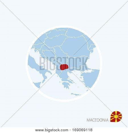 Map Icon Of Macedonia. Blue Map Of Europe With Highlighted Macedonia In Red Color.