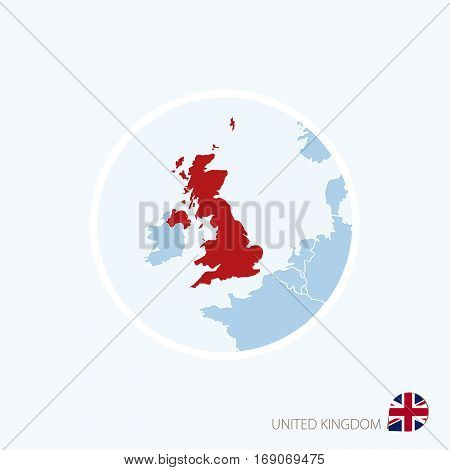 Map Icon Of United Kingdom. Blue Map Of Europe With Highlighted United Kingdom In Red Color.