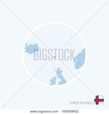 Map Icon Of Faroe Islands. Blue Map Of Europe With Highlighted Faroe Islands In Red Color.
