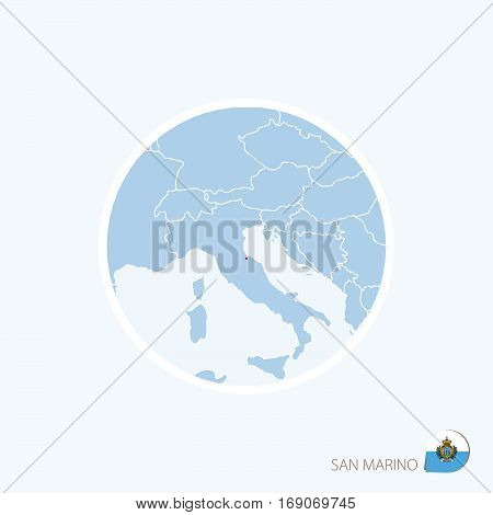 Map Icon Of San Marino. Blue Map Of Europe With Highlighted San Marino In Red Color.