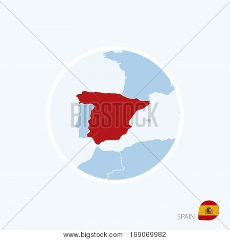 Map Icon Of Spain. Blue Map Of Europe With Highlighted Spain In Red Color.