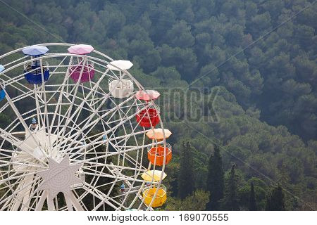 Ferris wheel in an amusement park on the Tibidabo hill in Barcelona