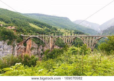 Bridge in mountains near Budva old city in Montenegro