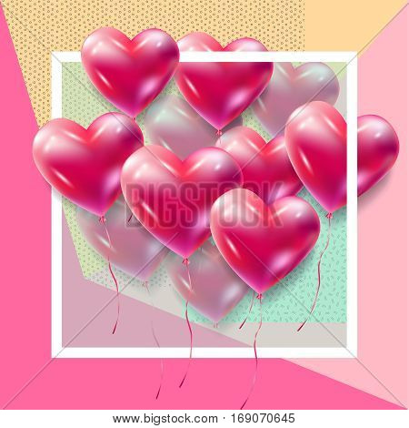 Heart balloons flying frame futuristic vector decoration. Red Heart balloons abstract geometric background. Heart romance love symbol for Valentine's Day, Birthday, Wedding, celebration greeting cards, invitation, advertising, banners design.