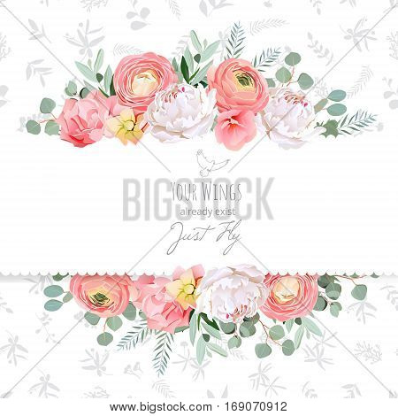 Peony rose ranunculus pink flowers and decorative eucaliptus leaves vector design card. Delicate grey floral texture background. All elements are isolated and editable.