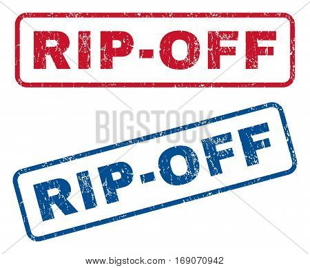 Rip-Off text rubber seal stamp watermarks. Vector style is blue and red ink tag inside rounded rectangular shape. Grunge design and scratched texture. Blue and red signs.