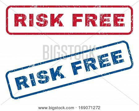 Risk Free text rubber seal stamp watermarks. Vector style is blue and red ink caption inside rounded rectangular banner. Grunge design and unclean texture. Blue and red signs.