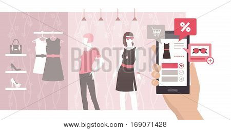 Woman searching informations on a product and discounts using an augmented reality app on her smartphone shopping and innovative technology concept