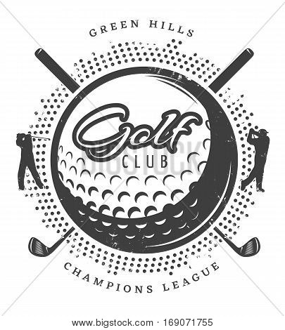 Vintage golf logotype with textured ball players and clubs in monochrome style isolated vector illustration