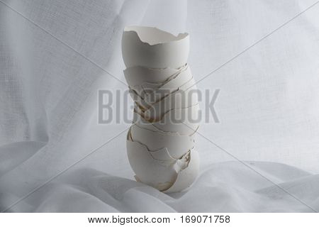 egg shell tower on a vintage background.