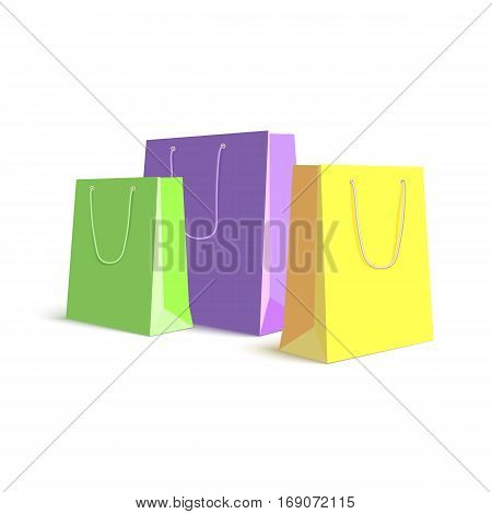 Set of paper, colored shopping bags, resizable vector illustration. Purple, green and yellow bags for shopping and gifts on white background
