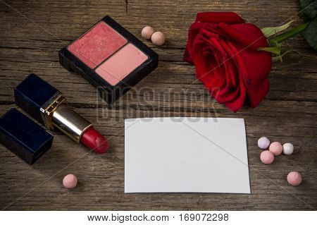 Empty White Paper For Text, Red Lipstick, Rouge, Rose Flower And Shells